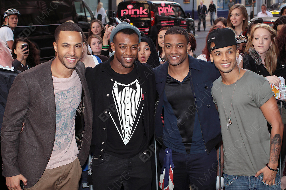 06.SEPTEMBER.2012. LONDON<br /> <br /> JLS AT THE STUDIOS OF RADIO 1 TO PROMOTE THEIR NEW SINGLE.<br /> <br /> BYLINE: EDBIMAGEARCHIVE.CO.UK<br /> <br /> *THIS IMAGE IS STRICTLY FOR UK NEWSPAPERS AND MAGAZINES ONLY*<br /> *FOR WORLD WIDE SALES AND WEB USE PLEASE CONTACT EDBIMAGEARCHIVE - 0208 954 5968*