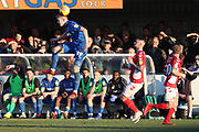 AFC Wimbledon striker Joe Pigott (39) winning header during the EFL Sky Bet League 1 match between AFC Wimbledon and Charlton Athletic at the Cherry Red Records Stadium, Kingston, England on 23 February 2019.