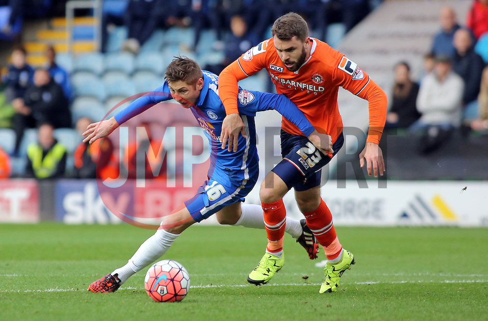 Harry Beautyman of Peterborough United in action with Josh McQuoid of Luton Town - Mandatory byline: Joe Dent/JMP - 06/12/2015 - Football - ABAX Stadium - Peterborough, England - Peterborough United v Luton Town - FA Cup