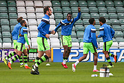 Forest Green Rovers Isaiah Osbourne(34)(centre) warming up during the EFL Sky Bet League 2 match between Yeovil Town and Forest Green Rovers at Huish Park, Yeovil, England on 24 April 2018. Picture by Shane Healey.
