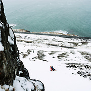David skiing out of the couloir towards the Atlantic Ocean