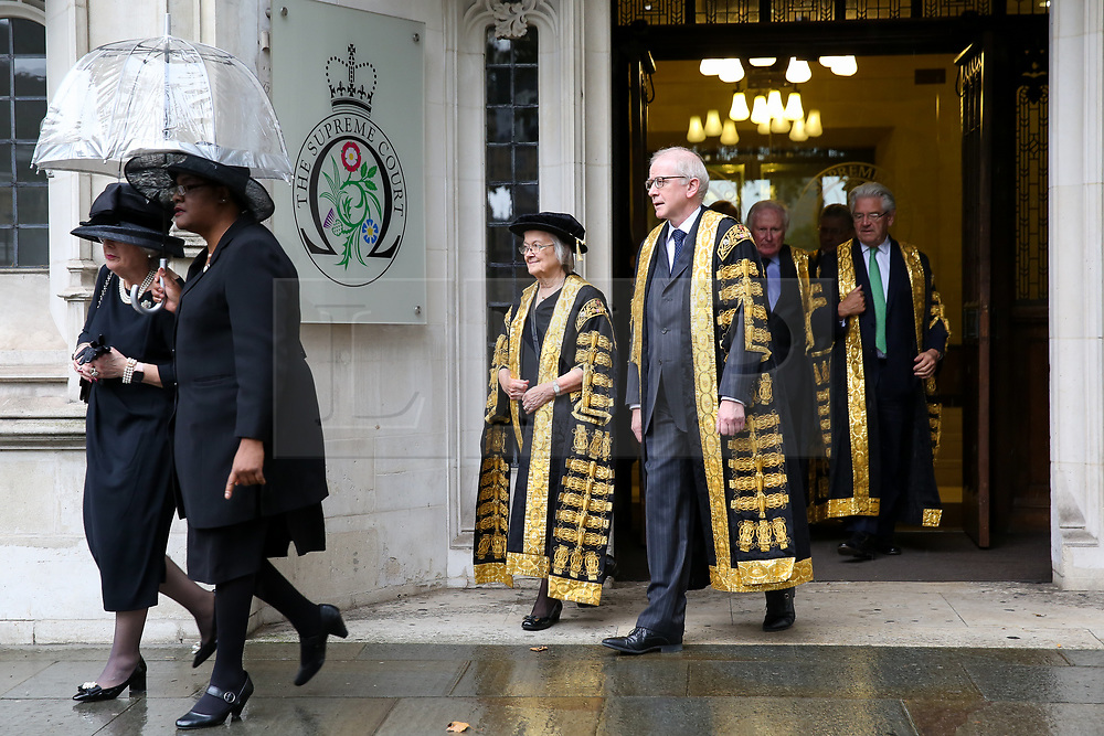 © Licensed to London News Pictures. 01/10/2019. London, UK. Baroness Hale of Richmond, President of the Supreme Court and the Justices of the Supreme Court leave The Supreme Court for Westminster Abbey to attending the annual service to mark the start of the legal year. The start of the new legal year is marked with a traditional religious service in Westminster Abbey followed by a procession to The Houses of Parliament where the Lord Chancellor hosts a reception.  Photo credit: Dinendra Haria/LNP