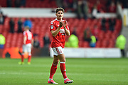 Nottingham Forest midfielder Matty Cash (41) check the football scores from the cHampionship after the Reds won 3-1during the EFL Sky Bet Championship match between Nottingham Forest and Reading at the City Ground, Nottingham, England on 22 April 2017. Photo by Jon Hobley.