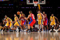 15 January 2010: Guard Eric Gordon of the Los Angeles Clippers receives a pass from teammate Craig Smith while Kobe Bryant, Derek Fisher, Lamar Odom, Pau Gasol, and Ron Artest of the Los Angeles Lakers defend during the second half of the Lakers 126-86 victory over the Clippers at the STAPLES Center in Los Angeles, CA