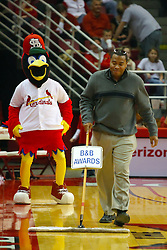 18 January 2009: Fredbird, the St. Louis Cardinals mascot, arrives at Redbird Arena with the Cardinals Caravan and steels the show at halftime. Fredbird turns a simple job as the celebrity sweeper into a complete 8 minute dance routine, even getting Cameraman Donnie Tillman from a local TV station into the act. The Illinois State University Redbirds top the Missouri State Bears 68-56 on Doug Collins Court inside Redbird Arena on the campus of Illinois State University in Normal Illinois