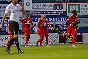 Luke Summerfield celebrates his equaliser during the Capital One Cup match between York City and Bradford City at Bootham Crescent, York, England on 11 August 2015. Photo by Simon Davies.