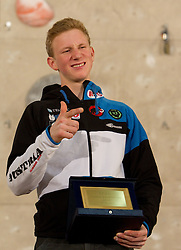 Overall second placed  Jakob Schubert of Austria at Trophy ceremony during Final IFSC World Cup Competition in sport climbing Kranj 2010, on November 14, 2010 in Arena Zlato polje, Kranj, Slovenia. (Photo By Vid Ponikvar / Sportida.com)