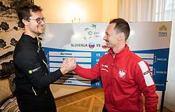 Miha Mlakar of Slovenia and Radoslaw Szymanik of Poland during Official Draw of Davis Cup 2018 tournament between National teams of Slovenia and Poland, on February 2, 2018 in Mestna hisa - Mariborski Rotovz, Maribor, Slovenia. Photo by Rene Gomolj / Sportida