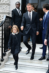 David Beckham and his daughter Harper leave after attending the Victoria Beckham London Fashion Week SS19 show in Dover Street, London.