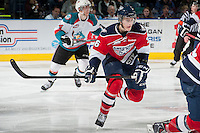 KELOWNA, CANADA - MARCH 28: Brandon Carlo #36 of the Tri-City Americans skates against the Kelowna Rockets during game 5 of the first round of WHL playoffs on March 28, 2014 at Prospera Place in Kelowna, British Columbia, Canada.   (Photo by Marissa Baecker/Shoot the Breeze)  *** Local Caption *** Brandon Carlo;