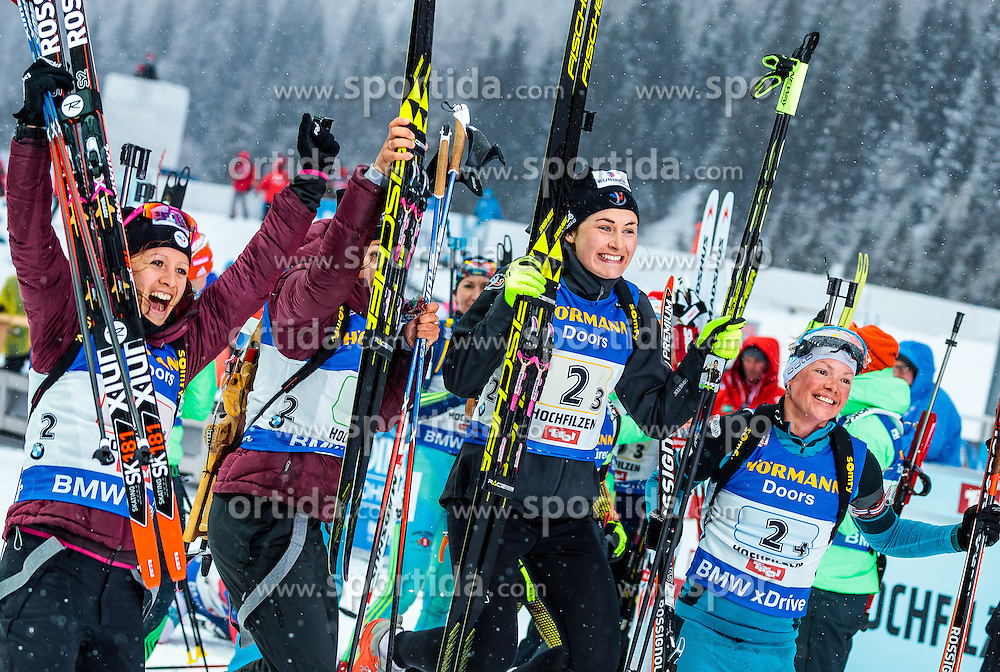 17.02.2017, Biathlonarena, Hochfilzen, AUT, IBU Weltmeisterschaften Biathlon, Hochfilzen 2017, Staffel Damen, im Bild Anais Chevalier (FRA), Celia Aymonier (FRA), Justine Braisaz (FRA), Marie Dorin Habert (FRA) // Anais Chevalier (FRA) Celia Aymonier of France Justine Braisaz of France Marie Dorin Habert of France during Womens Relay of the IBU Biathlon World Championships at the Biathlonarena in Hochfilzen, Austria on 2017/02/17. EXPA Pictures © 2017, PhotoCredit: EXPA/ JFK