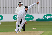 Ravi Rampaul bowling during the Specsavers County Champ Div 2 match between Leicestershire County Cricket Club and Derbyshire County Cricket Club at the Fischer County Ground, Grace Road, Leicester, United Kingdom on 27 May 2019.