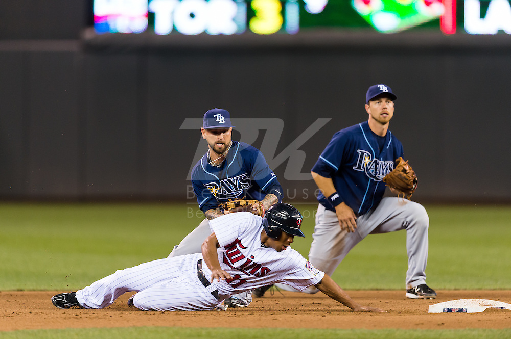 Ben Revere (11) of the Minnesota Twins tries to reach back to 2nd base after over sliding as Ryan Roberts (19) of the Tampa Bay Rays tries to tag him on August 10, 2012 at Target Field in Minneapolis, Minnesota.  The Rays defeated the Twins 12 to 6.  Photo: Ben Krause
