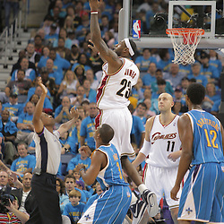 01 November 2008: Cleveland Cavaliers forward LeBron James (23) grabs a jump ball as New Orleans Hornets guard Chris Paul (3) watches during a 104-92 win by the New Orleans Hornets over the Cleveland Cavaliers at the New Orleans Arena in New Orleans, LA..
