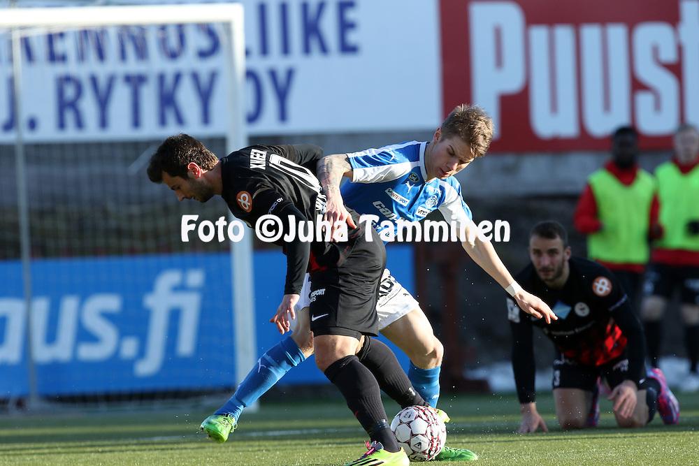 2.4.2016, Myyrm&auml;en jalkapallostadion, Vantaa.<br /> Veikkausliiga 2016.<br /> Pallokerho-35 Vantaa - Rovaniemen Palloseura.<br /> Robert Taylor (RoPS) v Ymer Xhaferi (PK-35).