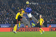 Wilfred Ndidi (25) challenges for the ball during the Premier League match between Leicester City and Watford at the King Power Stadium, Leicester, England on 4 December 2019.