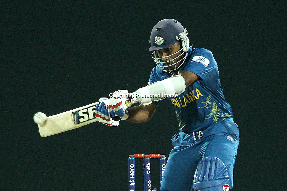 Mahela Jayawardene flicks the ball away for four during the ICC World Twenty20 Super 8s match between Sri Lanka and The West Indies held at the  Pallekele Stadium in Kandy, Sri Lanka on the 29th September 2012<br /> <br /> Photo by Ron Gaunt/SPORTZPICS