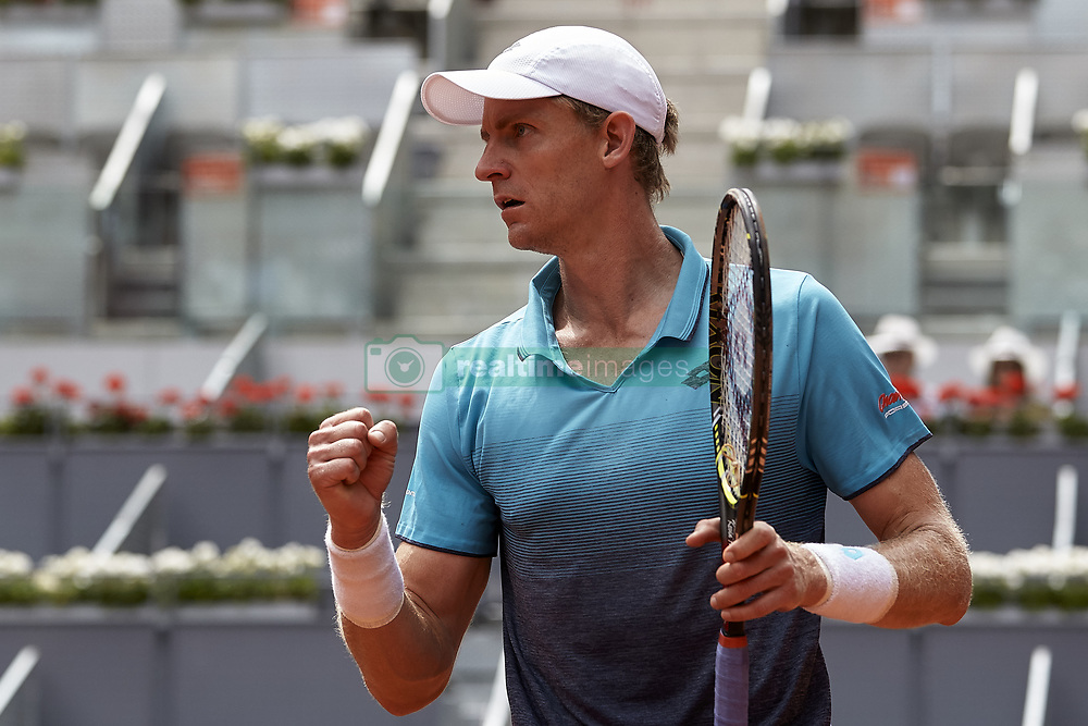 May 11, 2018 - Madrid, Madrid, Spain - Kevin Anderson of South Africa celebrates a point in his quarter final match against Dusan Lajovic of Serbia during day seven of the Mutua Madrid Open tennis tournament at the Caja Magica on May 11, 2018 in Madrid, Spain  (Credit Image: © David Aliaga/NurPhoto via ZUMA Press)