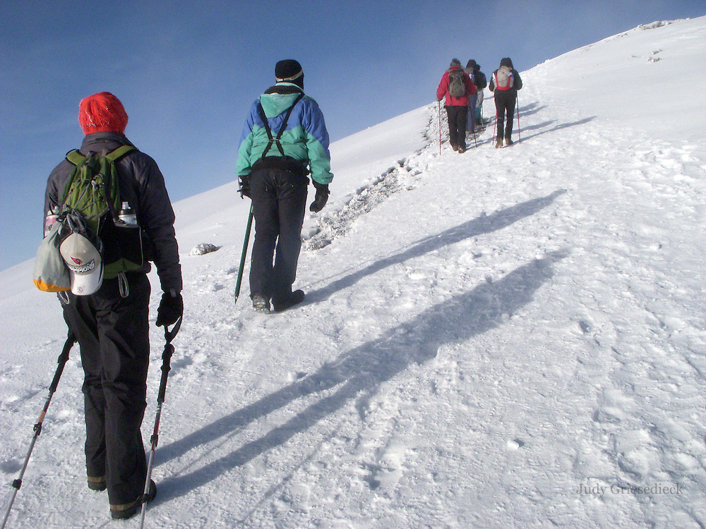 The summit of Mt. Kilimanjaro only an hour's climb away, weary hikers trudge up the final hill.