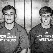UVU twin wrestling brothers, Jade and Val Rauser portrait in Orem, Utah Monday Nov. 11, 2013. (August Miller)