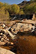 Water flows at Sabino Dam in Sabino Creek, Santa Catalina Mountains, Coronado National Forest, Sonoran Desert, Tucson, Arizona, USA.