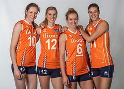 10-05-2018 NED: Team shoot Dutch volleyball team women, Arnhem<br /> (L-R) Lonneke Sloetjes #10 of Netherlands, Britt Bongaerts #12 of Netherlands, Maret Balkestein-Grothues #6 of Netherlands, Anne Buijs #11 of Netherlands