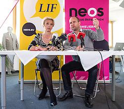 04.10.2013, Neosphaere, Wien, AUT, NEOS, Pressekonferenz zur Nationalratswahl und andere Aktuellen Themen. im Bild v.l.n.r. Vorsitzende des LIF Angelika Mlinar und Klubobmann NEOS Matthias Strolz // f.l.t.r. Leader of LIF Angelika Mlinar and Leader of the parliamentary group NEOS Matthias Strolz during an NEOS press conference about general election at Neosphaere in Vienna, Austria on 2013/10/04 EXPA Pictures © 2013, PhotoCredit: EXPA/ Michael Gruber