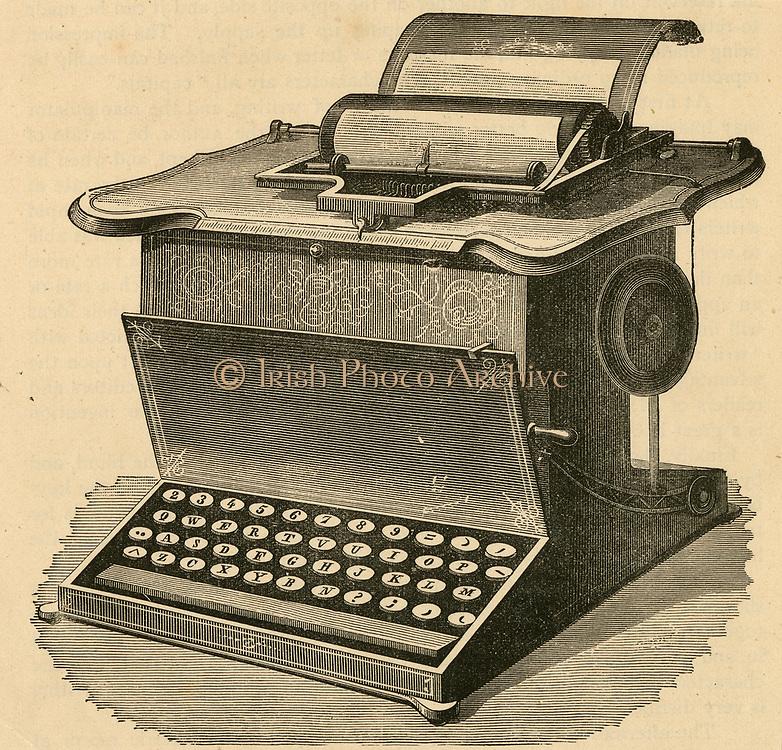 Remington typewritert with QWERTY keyboard, 1878. Engraving.