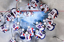 Robert Kristan of Slovenia and other players of Slovenia during ice-hockey match between Slovenia and Hungary at IIHF World Championship DIV. I Group A Slovenia 2012, on April 18, 2012 in Arena Stozice, Ljubljana, Slovenia. Slovenia defeted Hungary 4-1. (Photo by Vid Ponikvar / Sportida.com)