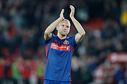 Dylan McGeouch of Sunderland applauds fans after the EFL Cup match between Sheffield United and Sunderland at Bramall Lane, Sheffield, England on 25 September 2019.