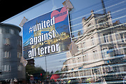 Following the attack on a group of Muslim men outside the Finsbury Park mosque which killed one person and seriously injured another ten, defiant messages are stuck to the Arsenal football shop window, on 19th June 2017, in the borough of Islington, north London, England