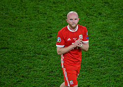 CARDIFF, WALES - Friday, September 6, 2019: Wales' Jonathan Williams applauds the supporters after the UEFA Euro 2020 Qualifying Group E match between Wales and Azerbaijan at the Cardiff City Stadium. Wales won 2-1. (Pic by Paul Greenwood/Propaganda)