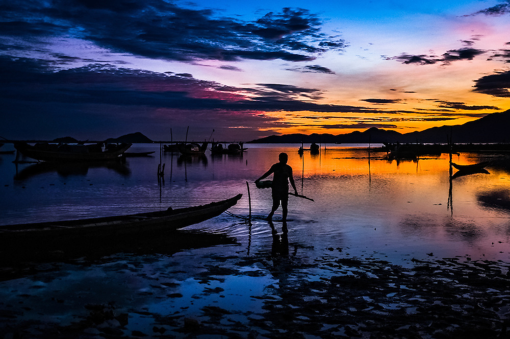 Sunrise on Tam Giang Lagoon, near Hue in Central Vietnam.