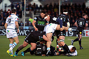 Glasgow Warriors second row forward Rob Harley (4) and a team mate take a leg each during a maul in the Heineken Champions Cup match between Glasgow Warriors and Cardiff Blues at Scotstoun Stadium, Glasgow, Scotland on 13 January 2019.