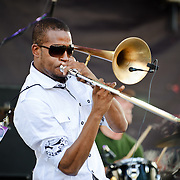 "COLUMBIA, MD - SEPTEMBER 25th, 2010:  Troy ""Trombone Shorty"" Andrews and his brass band perform at the 2010 Virgin Mobile FreeFest at Merriweather Post Pavilion. (Photo by Kyle Gustafson/For The Washington Post)"