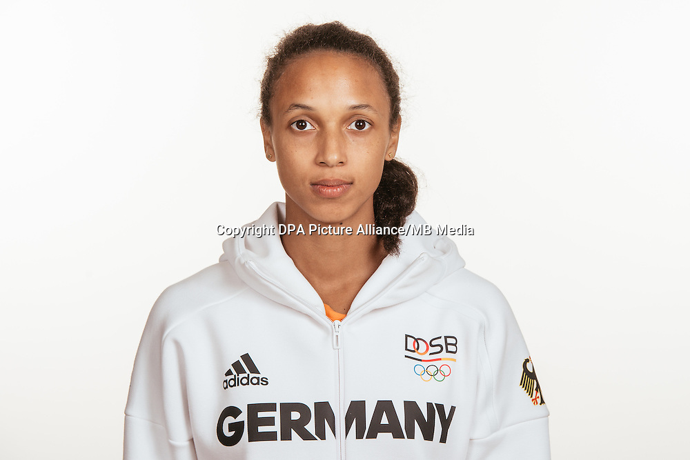 Malaika Mihambo poses at a photocall during the preparations for the Olympic Games in Rio at the Emmich Cambrai Barracks in Hanover, Germany, taken on 15/07/16 | usage worldwide