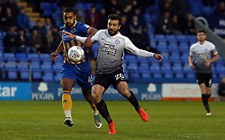 Michael Doughty of Peterborough United in action with Stefan Payne of Shrewsbury Town - Mandatory by-line: Joe Dent/JMP - 24/04/2018 - FOOTBALL - Montgomery Waters Meadow - Shrewsbury, England - Shrewsbury Town v Peterborough United - Sky Bet League One