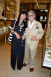 JUSTIN DE VILLENEUVE and SUE TIMNEY at the opening of Club To Catwalk: London Fashion In The 1980's an exhibition at The V&A Museum, London on 8th July 2013.