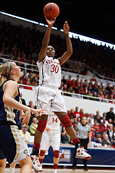 March 19, 2011; Stanford, CA, USA; Stanford Cardinal forward Nnemkadi Ogwumike (30) shoots against the UC Davis Aggies during the first half of the first round of the 2011 NCAA women's basketball tournament at Maples Pavilion.