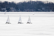 Participants race their iceboats in the North American Championship DN Ice Sailing Regatta on frozen Lake Monona in Madison, Wis., during winter on Feb. 25, 2016. (Photo by Jeff Miller, www.jeffmillerphotography.com)