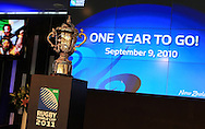 The Webb Ellis Cup on display during the One Year To Go media session. Countdown to the 2011 Rugby World Cup, Eden Park, Auckland, Thursday 9 September 2010. Photo: Andrew Cornaga/PHOTOSPORT