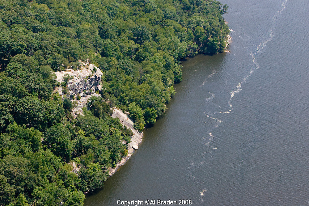 Aerial of Joshua Rock is a landmark near Lyme, CT on the Connecticut River.