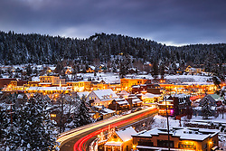 """Downtown Truckee 21"" - Photograph of historic Downtown Truckee, California, shot at dusk."