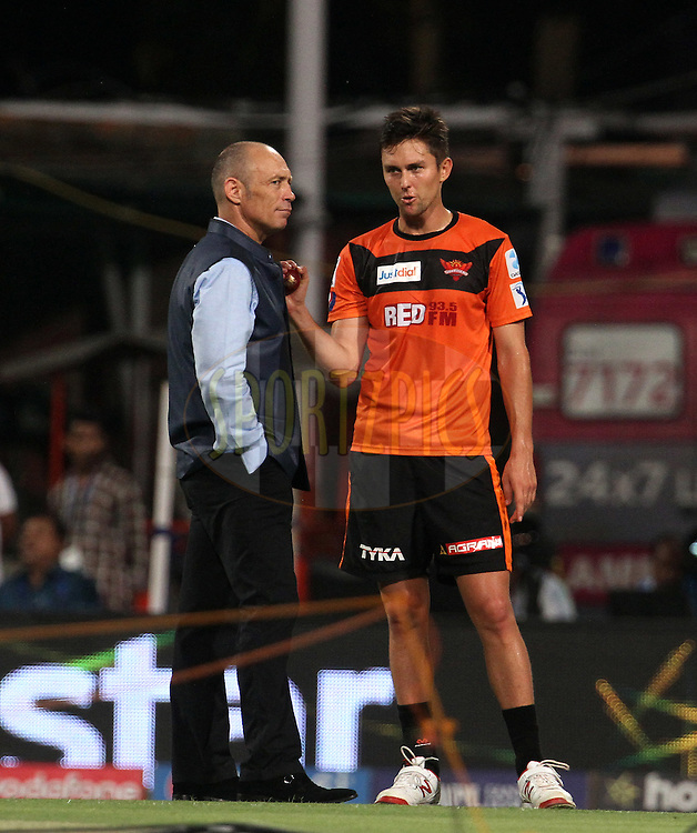 Sunrisers Hyderabad player Trent Boult speaks with commentator Danny Morrison before the start of the match 38 of the Pepsi IPL 2015 (Indian Premier League) between The Kolkata Knight Riders and The Sunrisers Hyderabad held at Eden Gardens Stadium in Kolkata, India on the 4th May 2015.<br /> <br /> Photo by:  Vipin Pawar / SPORTZPICS / IPL