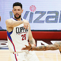 25 April 2017: LA Clippers guard Austin Rivers (25) passes the ball over Utah Jazz guard George Hill (3) during the Utah Jazz 96-92 victory over the Los Angeles Clippers, during game 5 of the first round of the Western Conference playoffs, at the Staples Center, Los Angeles, California, USA.