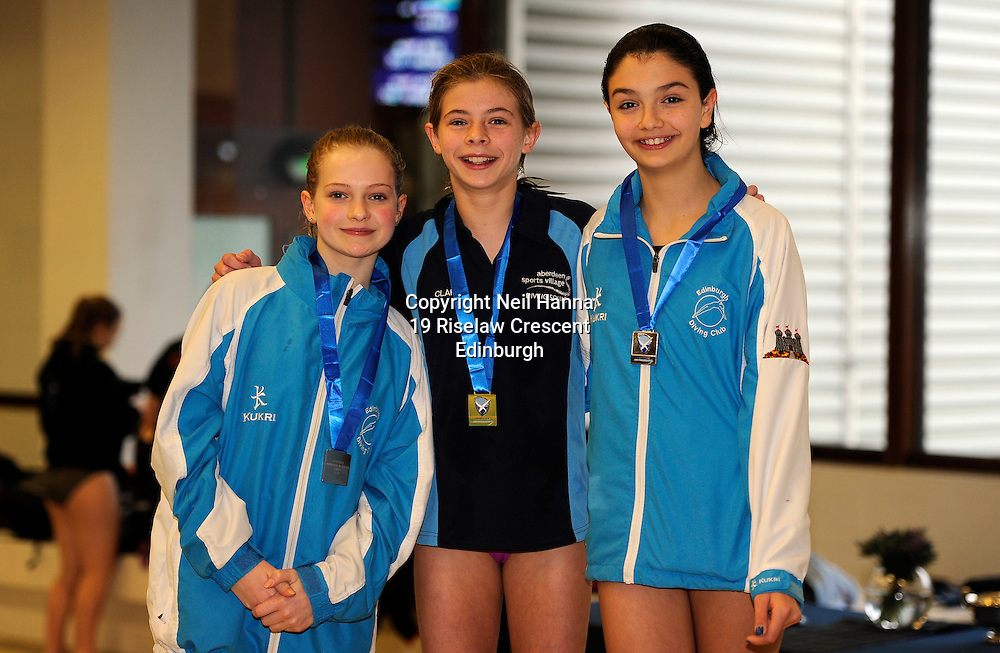 Scottish National Diving Championships &amp; Thistle Trophy 2015<br /> Royal Commonwealth Pool, Edinburgh<br /> <br /> Girls 12-13<br /> <br /> l-r Rose Daly EDC, Clara Kerr ASV and Ellen Beattie of EDC<br /> <br />  Neil Hanna Photography<br /> www.neilhannaphotography.co.uk<br /> 07702 246823