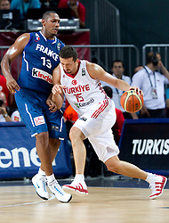 Boris Diaw of France vs Hidayet Turkoglu of Turkey during  the eight-final basketball match between National teams of Turkey and France at 2010 FIBA World Championships on September 5, 2010 at the Sinan Erdem Dome in Istanbul, Turkey. (Photo By Vid Ponikvar / Sportida.com)