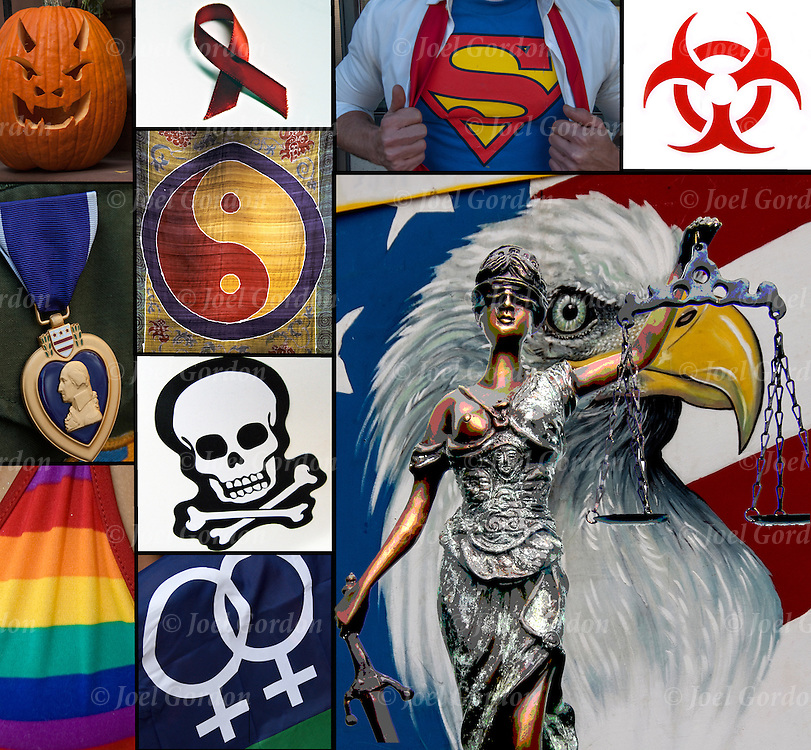 Symbols Collage - Blind Justice, AIDS Red Ribbon, Purple Heart, Medical Waste, Yin Yang, Clark Kent aka Superman, Skull and Crossbones, Bald Eagle<br />
