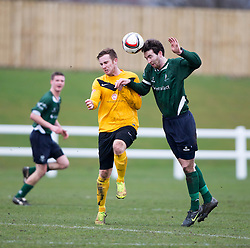 Edinburgh City&rsquo;s Ross Allum  and Edinburgh University&rsquo;s Duncan Black/<br /> Edinburgh University 0 v 1 Edinburgh City, Scottish Sun Lowland League game played 14/3/2015 at The University of Edinburgh&rsquo;s Peffermill playing field.
