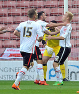 Lauri Dalla Valle (right) of Crewe Alexandra is congratulated on his winning goal during the Sky Bet League 1 match at Oakwell, Barnsley<br /> Picture by Graham Crowther/Focus Images Ltd +44 7763 140036<br /> 10/10/2015